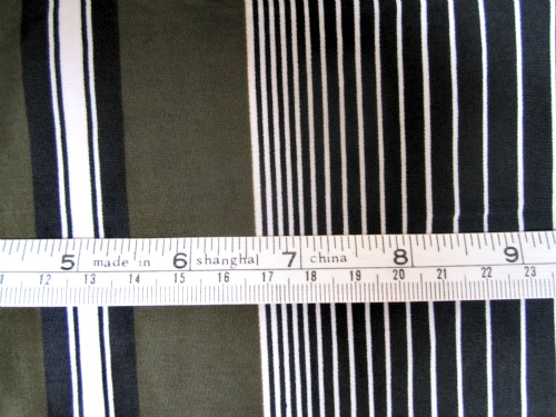 Celery stripe, detail with tape measure for comparison.