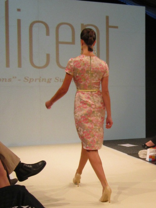 The back of the dress design - love the exposed metallic zipper as contrast to the floral