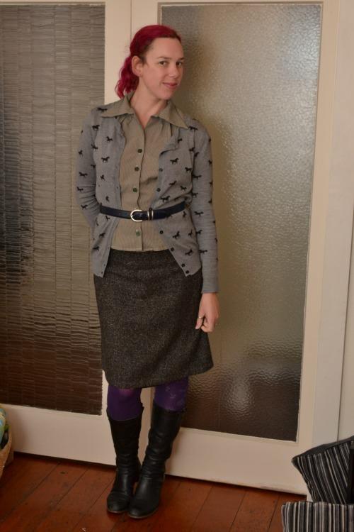 Horses cardigan, green shirt, herringbone pencil skirt, purple tights