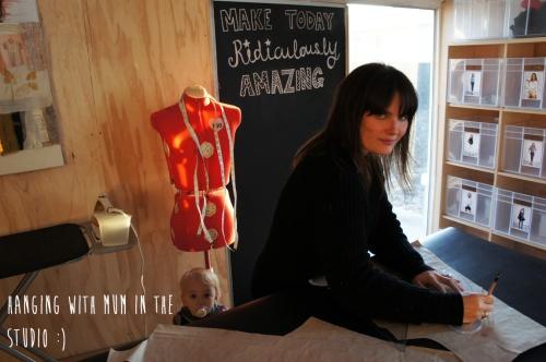 Katie from Papercut in her studio
