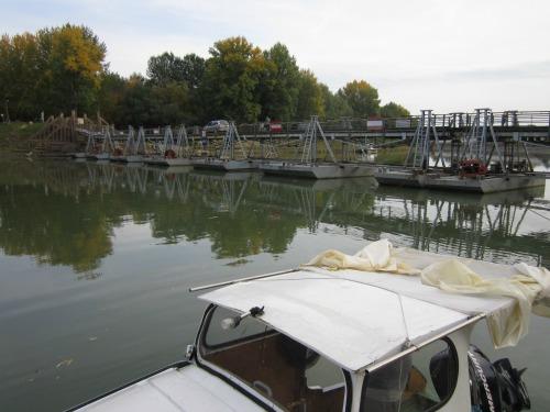 Summer bridge over the Tisza river