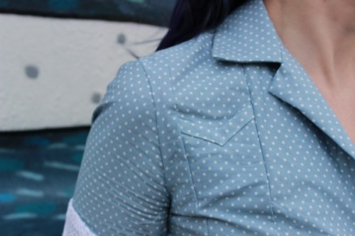 Melissa in polka dotted chambray | Modern Vintage Cupcakes