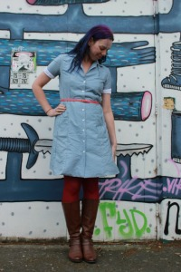 Polka dotted chambray Melissa dress | Modern Vintage Cupcakes