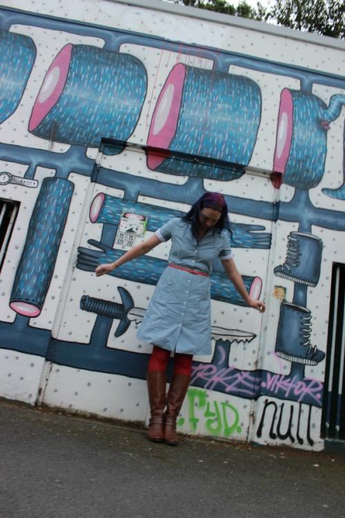 Polka dotted chambray Melissa dress   Modern Vintage Cupcakes