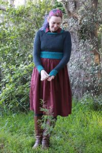 Cropped jumper in grey and teal | Modern Vintage Cupcakes