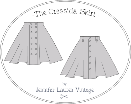 Jennifer Lauren Vintage Cressida skirt line drawing
