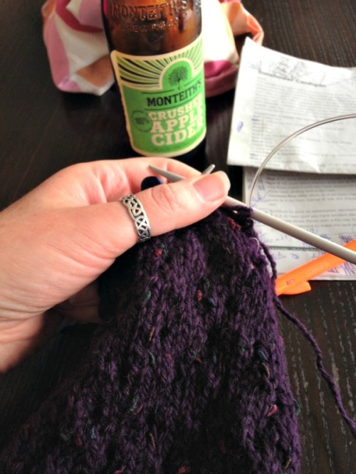 Knitting the Sunshower cardigan at Friday work drinks